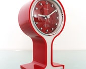 SAMSUNG ROYAL Alarm Clock Mantel Rare Clock Vintage RED Pedestal Space Age With Original Box Offered with a One Years Guarantee