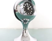 LUMEN Alarm Clock Mantel Vintage CHROME Pedestal BLACK Space Age Clock Germany Retro Alarm Clock. Offered With a One Year Guarantee