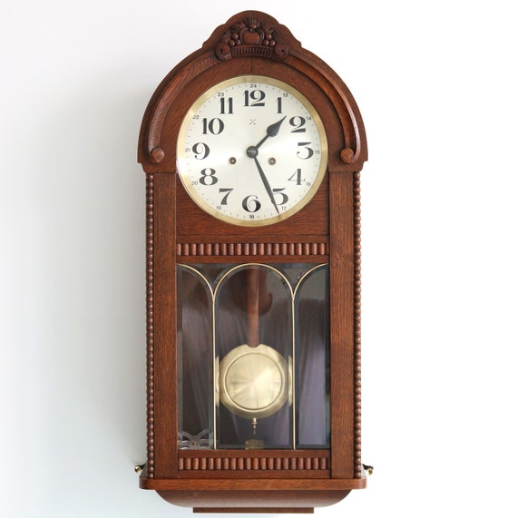 JUNGHANS Pfeilkreuz Wall Clock BAUHAUS! Antique Top RESTORED 4 Bar Chime  Germany  Offered With a One Years Guarantee !!!