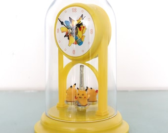 POKEMON PIKACHU Clock TOP! Mantel 1990s Dome Rarity Moving! Animated Feature! Motion Rotating Figurine With Box Restored One Year Guarantee!