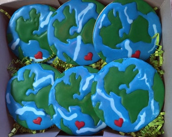 Welcome to the World Earth Day Planet Cookies - 1 Dozen (12 Cookies)
