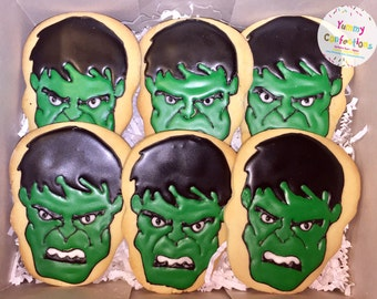 Green Hulk Smash Face Sugar Cookies - 1 Dozen (12 Cookies)