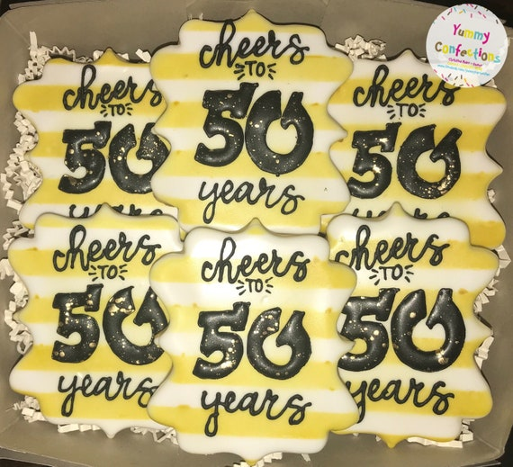 50th Birthday Cheers To 50 Years 50th Birthday Cookies