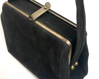 27b1c1c82ae4 Vintage 50s Black Velvet Box Purse