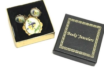 Vintage Hand Painted Pansy Jewelry Set