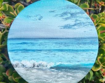 Oil painting- Bondi beach/Ocean painting/Round canvas/Ocean oil painting/Beach painting/Original artwork