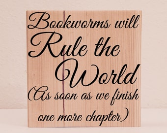 """Literary Gifts, """"Bookworms will Rule the World"""" Book Lover Gift, Bookworm Gifts, Librarian Gifts, Teacher Gifts"""