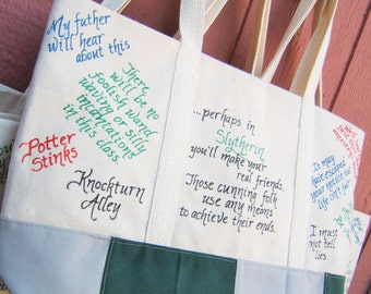 Harry Potter Book Bag, Slytherin Gift, Harry Potter Tote Bag, Potterhead Bag, Potterhead Gift, Harry Potter Gift, Hogwarts House Quote