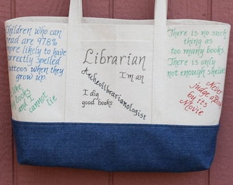 Literary Gifts, Teacher Gifts, Librarian Gifts, Funny Tote Bag, Canvas Tote Bag with Pockets, Appreciation Tote, Book Lover Bag