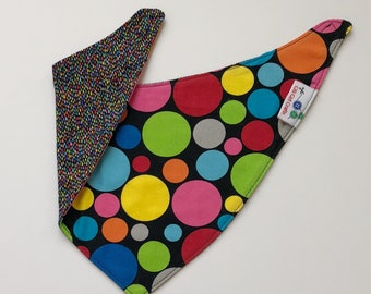 Baby Bib, Dribble Bib, Multi-Colored Bib, Boy or Girl Bandana Bib, Reversible Bib