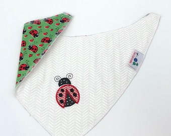 Baby Bib, Dribble Bib, Appliquéd Bib, Ladybug Bandana Bib, Girl or Boy Bandana Bib, Reversible Drool Bib
