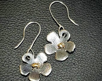 Dramatic unique Dangle drop earrings rustic. sterling silver and 18k gold artisan jewelry Handmade Hammered attention getting