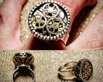 Sterling Silver Steampunk  Ring with Vintage Watch movement and Brass Stamping Accents