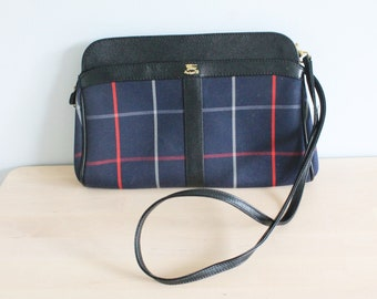 Vintage Burberrys Made in England Black Leather Blue Check Satchel Across  Body Messenger Shoulder Bag a164f76201c84