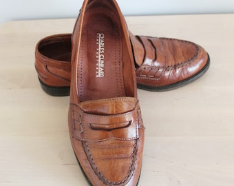 3a2db64c017 Vintage Handsewn Charles Clinkard Classic Tan Brown Leather Slip On Flat Moccasins  Penny Loafers Pumps Driving Shoes Size UK 4 EU 37 US 6