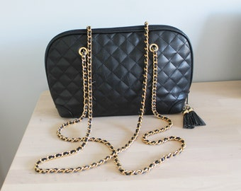 a254b3e574f3 Vintage Large BHS Black Faux Vegan Leather Quilted Tassel Gold Woven Chain  Clutch Shoulder Bag Tote Shopper Evening Bag Purse