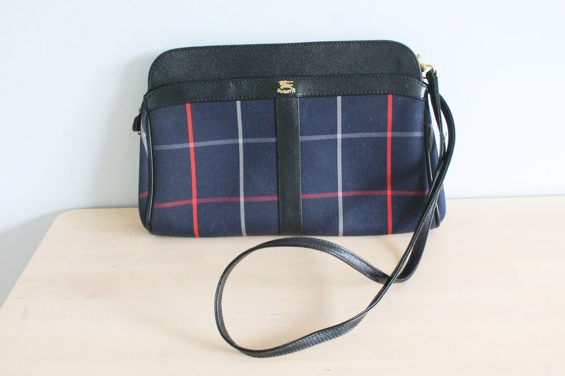 6b23277a87d2 Vintage Burberrys Made in England Black Leather Blue Check
