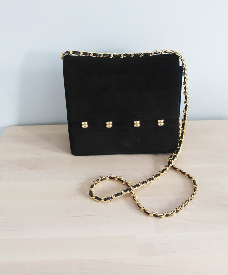 76d12ca095 Vintage Black Square Leather Suede Gold Stud Long Gold Woven