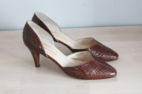 Vintage 1940's Gina London Designer Brown Snakeski