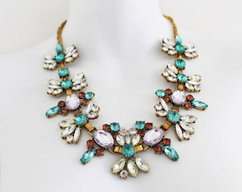 Vintage Large Crystal Floral Flower Costume Jewellery Gold Statement Necklace Chain