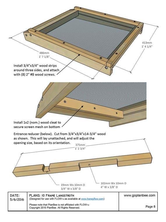 DIY FLOW Beehive Box Plans Langstroth 10-Frame Beekeeping | Etsy