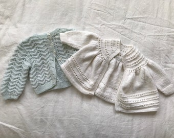 Two newborn cardigans - mint and white