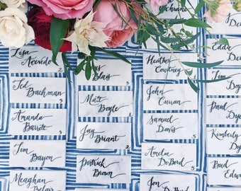 Tile Place Cards/ Calligraphy/ Wedding place cards