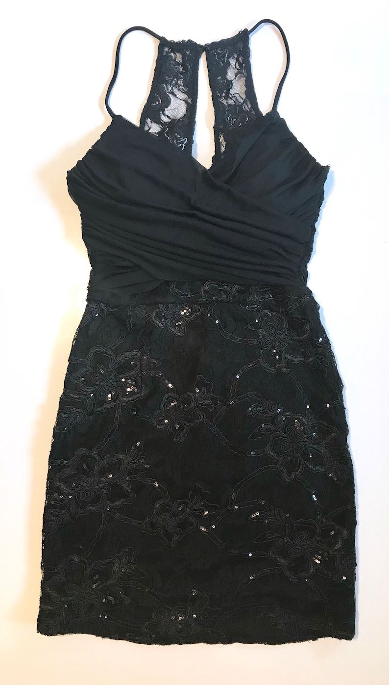 db9941c7058 90s black mini dress vintage brand City Triangles black