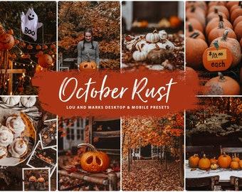 10 Lightroom Presets, Autumn October Rust Fall Presets for Desktop & Mobile, Warm Instagram Filter for Bloggers, Brown Preset, Earthy Preset