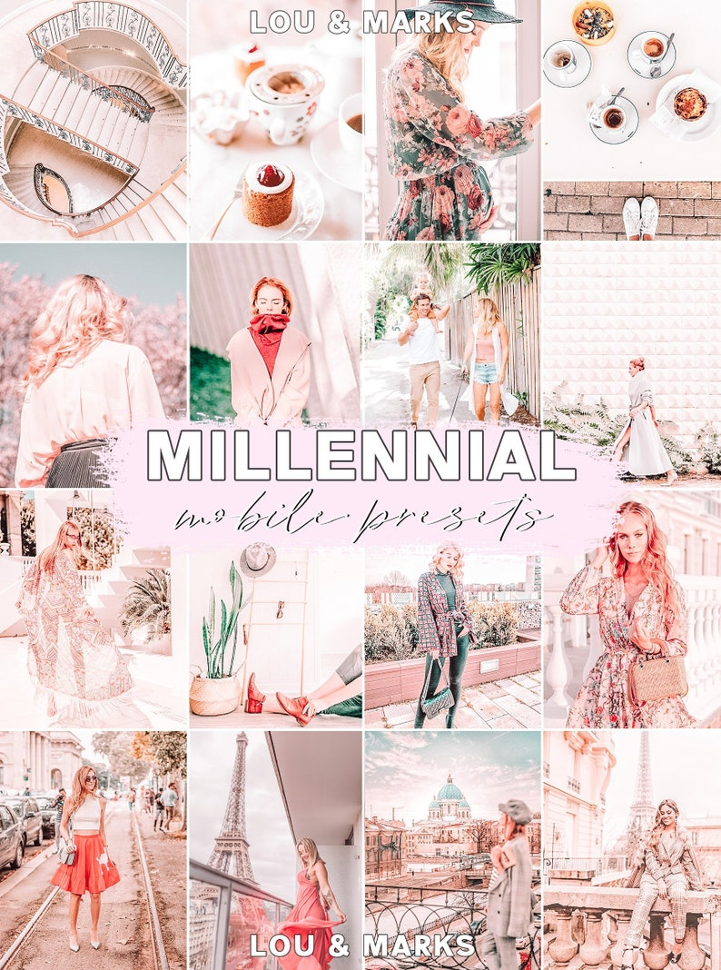 3 Mobile Lightroom Presets, Millennial Pink Instagram iPhone/Android  Compatible Blogger Photo Editing DNG Presets, Instant download