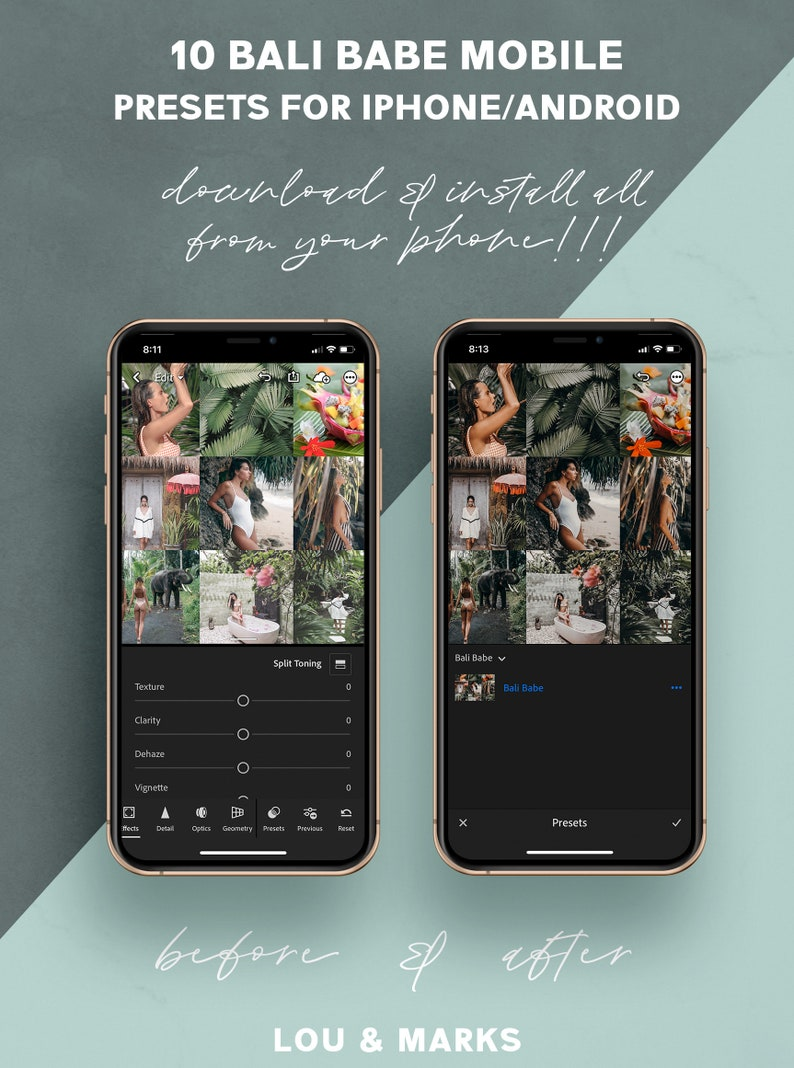 BALI BABE 10 Lightroom Mobile Presets, iPhone Android Lightroom Presets,  Instagram Blogger Presets, and Summer Travel Photo Filters DNG
