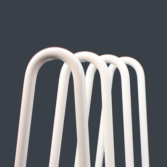 Set of 4 Powder Coated White Hairpin Legs Free Shipping.