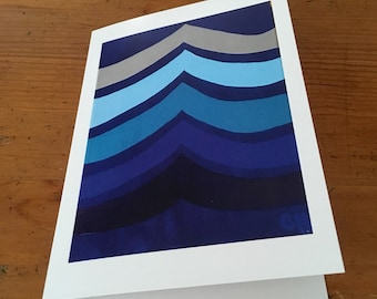 140745fc33 Teal, sky blue, navy blue, waves, abstract, 5x7, blank card, greeting card,  art my carole, art by carole store, print, ocean, cards