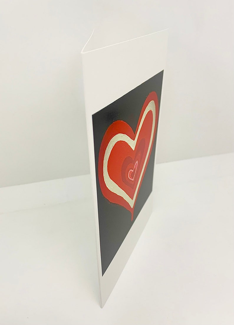 snail mail love art by Carole white Set of Four black Abstract hearts Galentines blank red 4x6 identical cards Valentines
