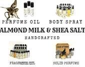 Almond Milk Shea Salt Perfume Body Spray Mist Room Linen Spray Fragrance Oil Solid Perfume Cologne Beard Oil Balm Scent