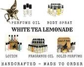WHITE TEA LEMONADE Perfume, Body Spray Mist, Fragrance Oil, Solid Perfume Tin, Lemon, Orange, Floral Musk, Fresh, Sweet Scent, Gift For Her