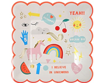 Unicorns and Rainbows Small Paper Plates, Pack of 8, Tableware, Party, Birthday, Children's Party