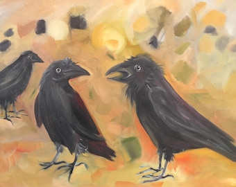 Three Crows Conversing Original Oil Painting 24x36