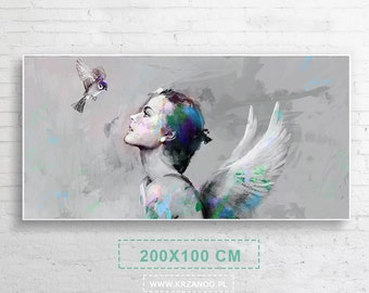 """Xxl! A modern painting on the canvas """"She & Bird"""" for the bedroom and living room 200x100cm"""