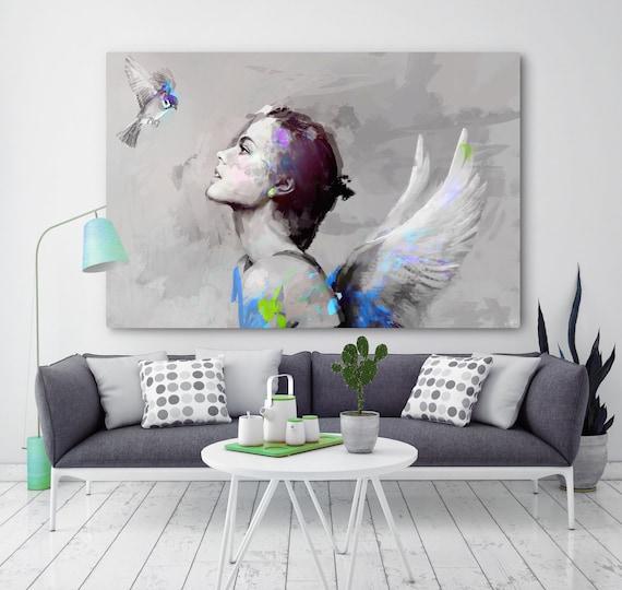 Pittura moderna su tela lei bird per la camera etsy for Pittura moderna soggiorno