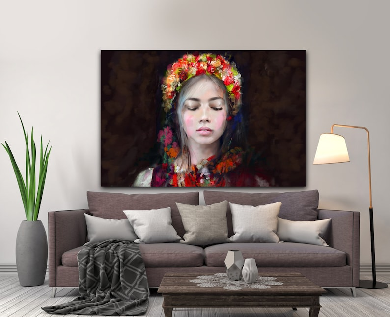 Modern Lady Folk canvas painting for bedroom and image 0