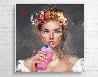 """Author's painting on canvas """"Lady Smoothies"""""""