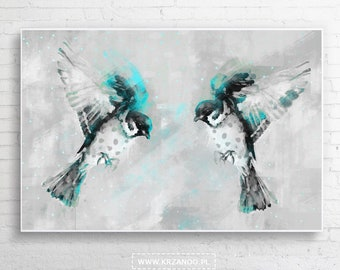"""Modern painting on the canvas """"sparrows"""" for bedroom and living room"""