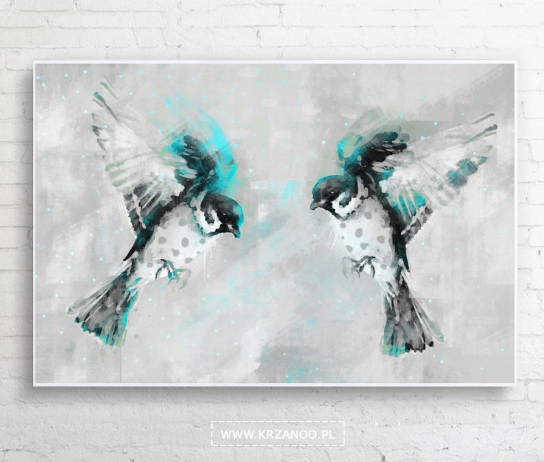 Modern painting on the canvas sparrows for bedroom image 0