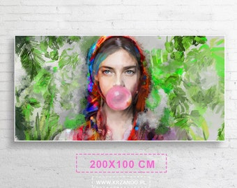 """Xxl! Modern painting on the canvas """"Lady Folk 3"""" for the bedroom and living room 200x100cm"""