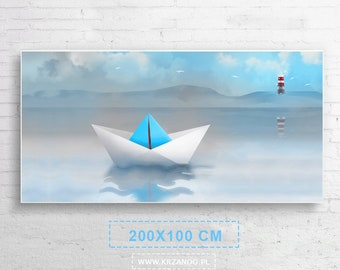 """Xxl! A modern painting on the canvas """"ship"""" of the children's room and salon 200x100cm"""