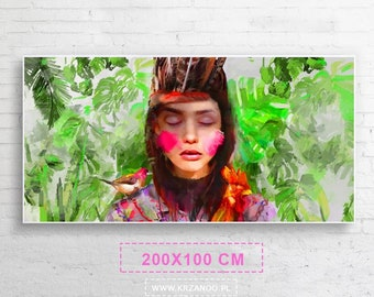 """Xxl! Modern canvas painting """"IND"""" for bedroom and living room 200x100cm"""