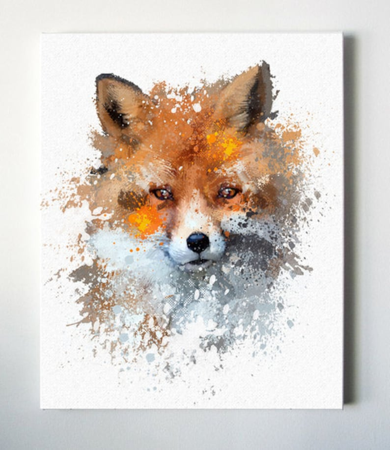 Modern fox canvas painting for the living room or image 0