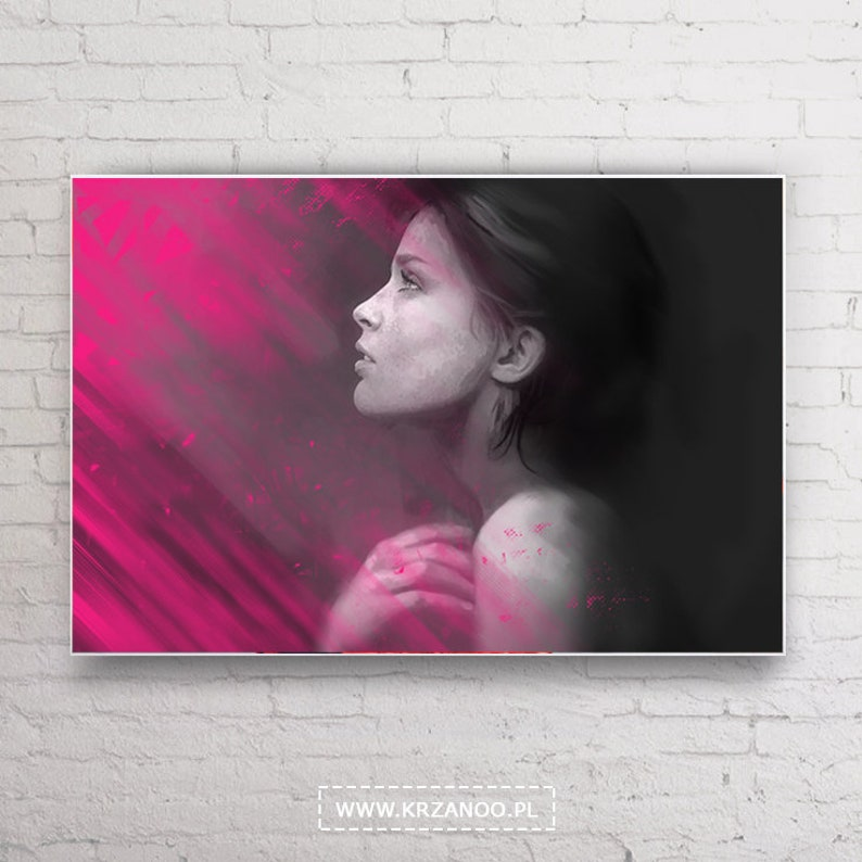 Modern Lady flare canvas painting for bedroom and image 0