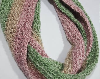 Hand crocheted infinity scarf
